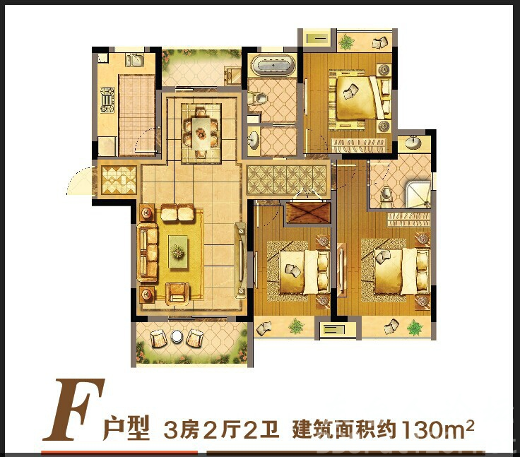 [小编探盘]东达·翰林缘高层F户型130平米3房2厅2卫